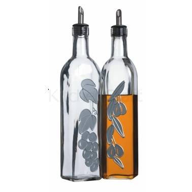 KitchenCraft Italian Set of 2 Glass Oil and Vinegar Bottles