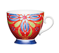 KitchenCraft Set of Four Bone China Moroccan Red Footed Mugs