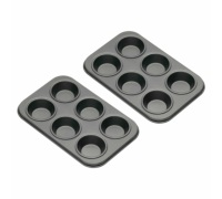 Kitchen Craft Set of Two Non-Stick Mini Six Hole Bun Trays