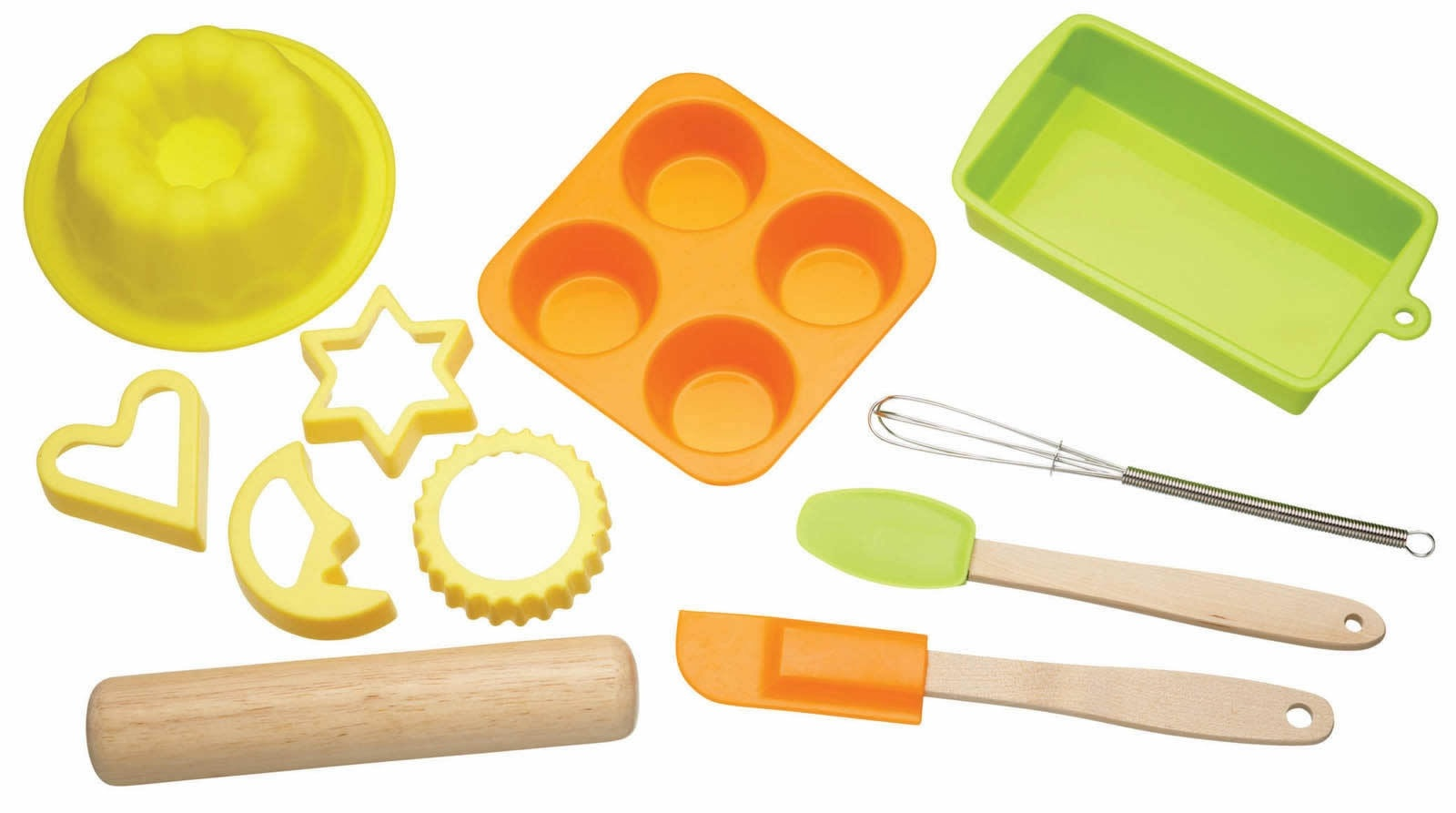 Let s make childrens 11 piece silicone bakeware set for Utensilios de cocina oriental