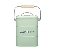 Living Nostalgia Metal Kitchen Compost Bin - English Sage Green