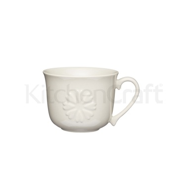 KitchenCraft Stoneware Embossed Flower Breakfast Cup