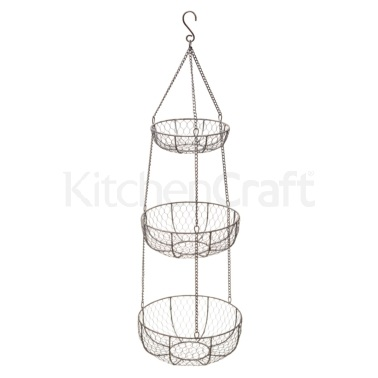 Kitchen Craft Wire Three Tier Hanging Storage Baskets