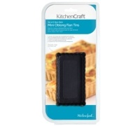 Kitchen Craft Non-Stick Mini Fluted Oblong Tart Tins