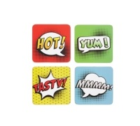 KitchenCraft Comic Strip Cork Back Laminated Set of 4 Coasters