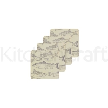 KitchenCraft Fish Cork Back Laminated Set of 4 Coasters
