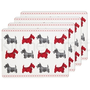 KitchenCraft Scottie Dog Cork Back Laminated Set of 4 Placemats