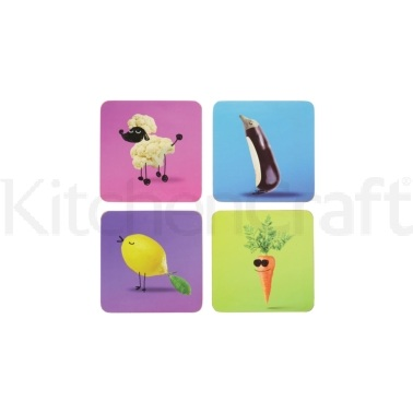 KitchenCraft Funky Vegetable Cork Back Laminated Set of 4 Coasters