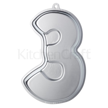 Sweetly Does It Silver Anodised Number Three Shaped Cake Pan