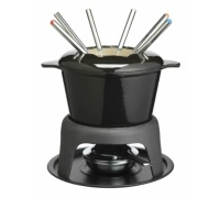 MasterClass Cast Iron Enamelled Black Fondue Set