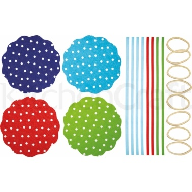 Home Made Pack of 8 Polka Dot Patterned Fabric Jam Cover Kits