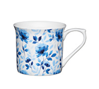 KitchenCraft Set of Four Fluted Fine Bone China Blue Rose Mugs