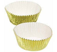 Lot de 24 caissettes à cupcakes feuille or