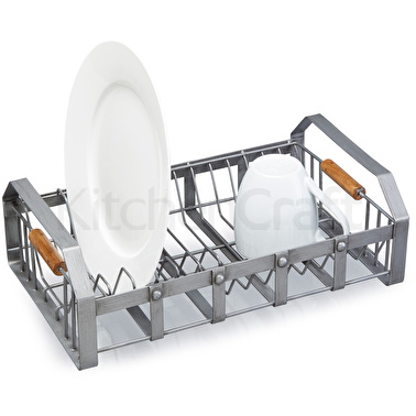 Industrial Kitchen Anti-Rust Wire & Acacia Wood Dish Drainer