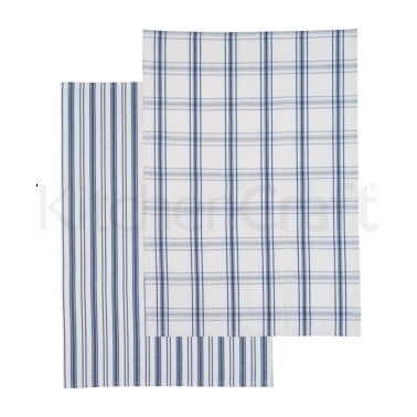 KitchenCraft Set of 2 Blue Flat Woven Tea Towels