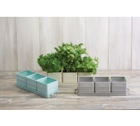 Living Nostalgia Vintage Blue Herb Pots with Tray