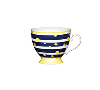 KitchenCraft Set of Four Bone China Yellow Spot Mugs