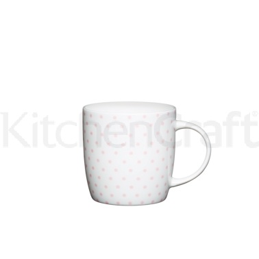 KitchenCraft Fine Bone China Pink Spot Barrel Mug