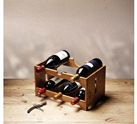 KitchenCraft Natural Elements Acacia Wood Six Bottle Wine Rack