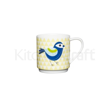 KitchenCraft Bone China Yellow Pyramid Bird Stacking Mug