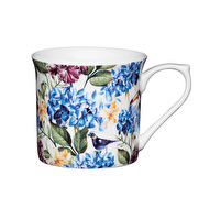 KitchenCraft Set of Four Fluted Fine Bone China Country Floral Mugs