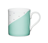 KitchenCraft Set of Four Bone China Green Panel Mini Mugs