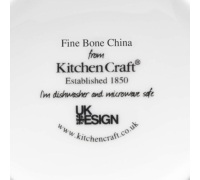 KitchenCraft Fine Bone China Grey Gingham Barrel Mug