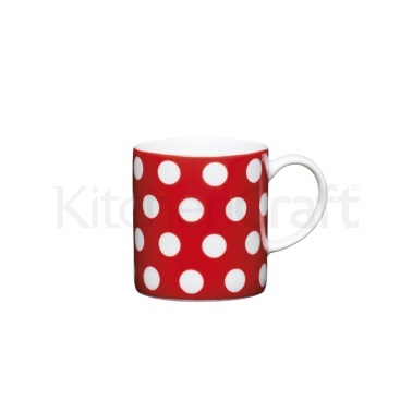 KitchenCraft 80ml Porcelain Red Polka Dot Espresso Cup