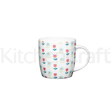 KitchenCraft Folky Floral Fine Bone China Folky Barrel Mug