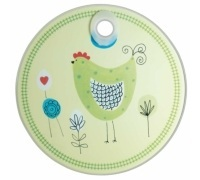 Kitchen Craft Toughened Glass Round Worktop Protector - Chicken