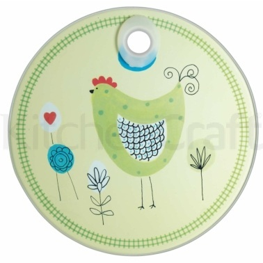 KitchenCraft Toughened Glass Round Worktop Protector - Chicken