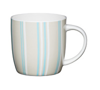 KitchenCraft Set of Four Fine Bone China Blue Stripe Mugs