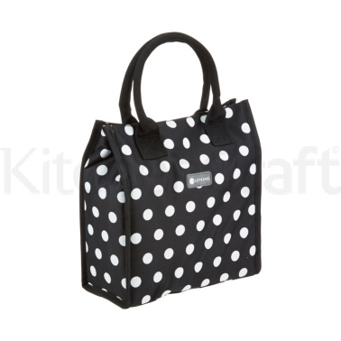 KitchenCraft 4 Litre Black Polka Lunch / Snack Cool Bag