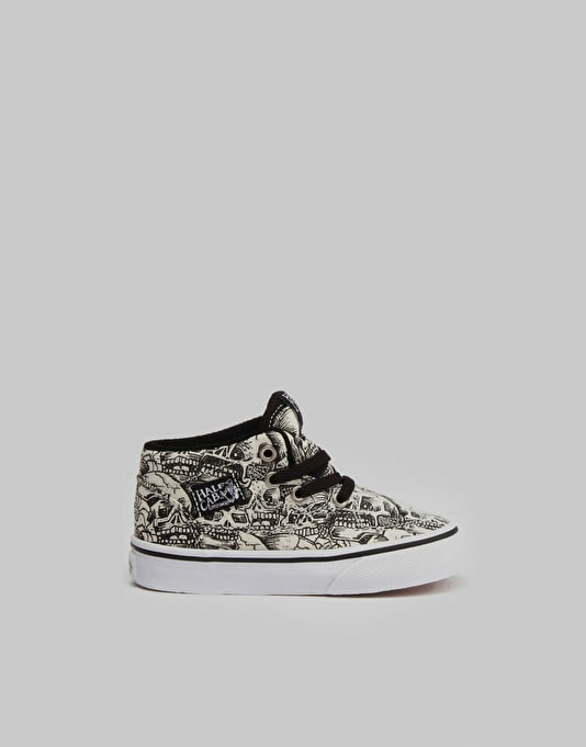 Vans Half Cab Toddlers Skate Shoes - (Skulls) Black/True White