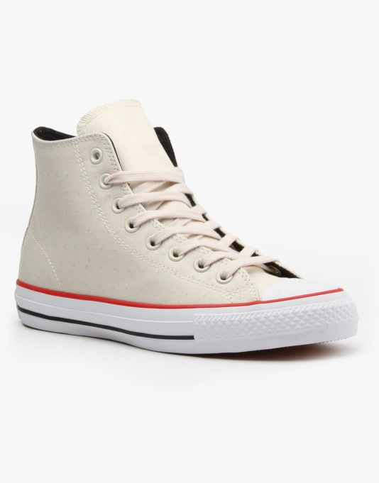 Converse Cons CTAS Pro Hi Skate Shoes - Parchment/Red/Black