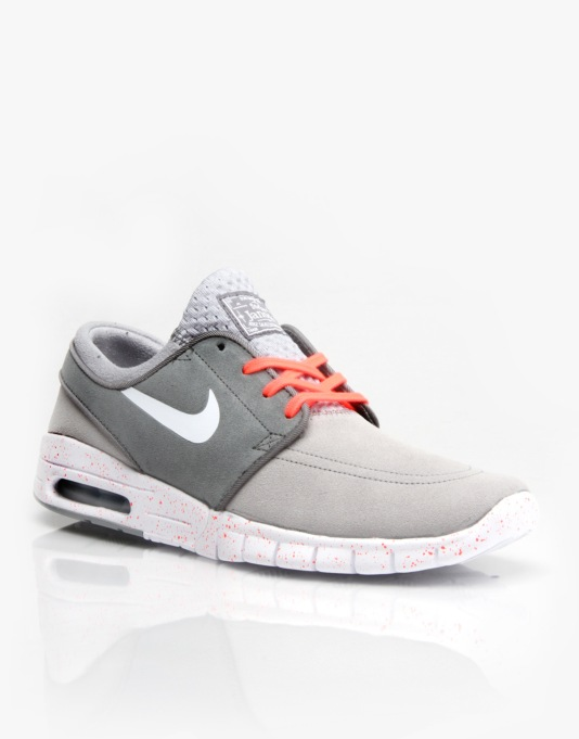 Nike SB Stefan Janoski Max Suede Skate Shoes - Grey/Wht/Cool Grey/Lava