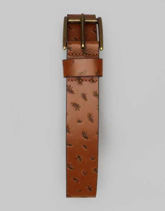 Vans Peace Leaf Leather Belt - Vintage Natural
