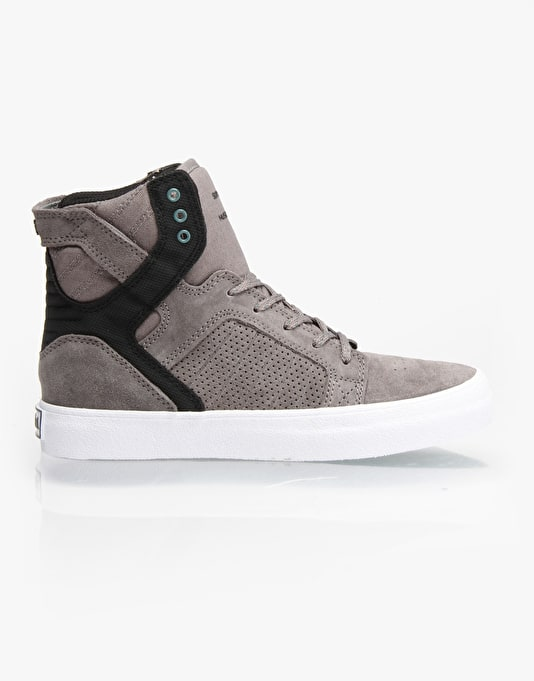 Supra Skytop Boys Skate Shoes - Grey/Black/White