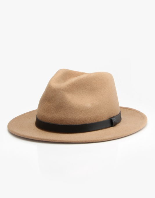 Brixton Messer Fedora Hat - Tan/Black