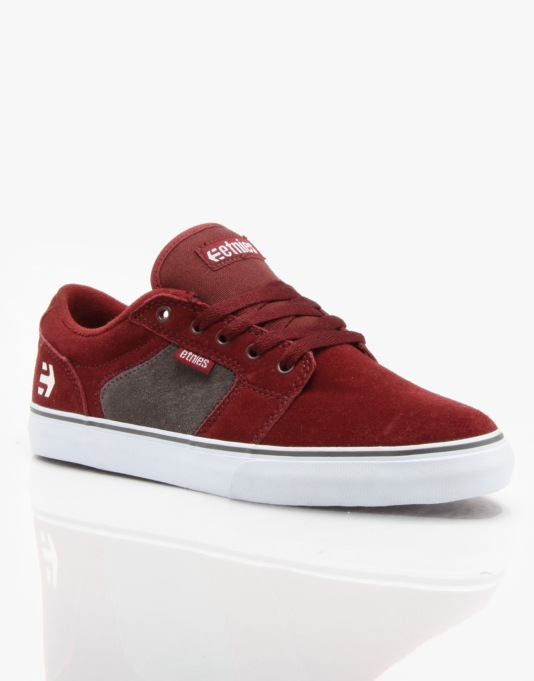 Etnies Barge LS Skate Shoes - Maroon/White