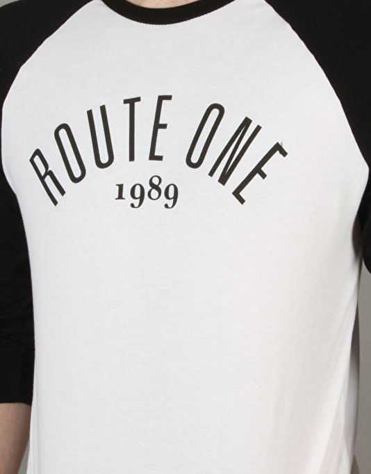 Route One Logo Raglan T-Shirt - White/Black
