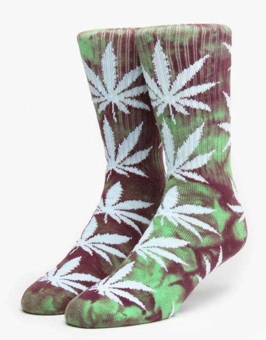 HUF Tie Dye Plantlife Crew Socks - Green/Purple