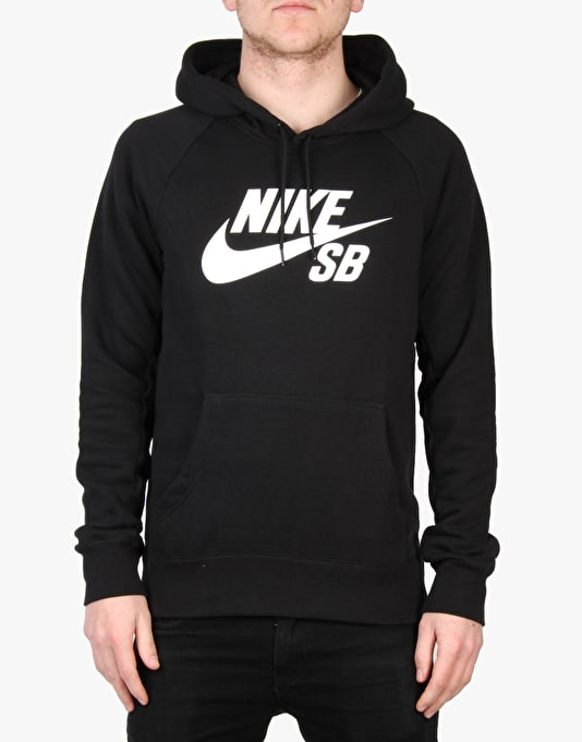 Nike SB Icon Pullover Hoodie Fleece- Black/White