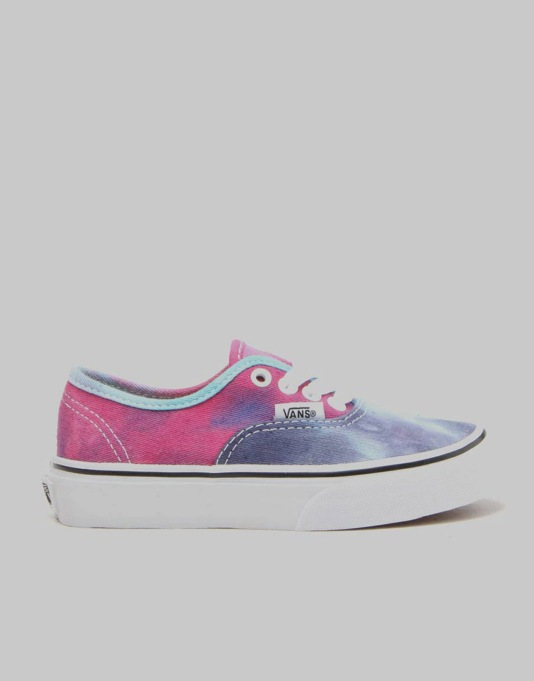 Vans Authentic Boys Skate Shoes - Tie Dye Pink/Blue