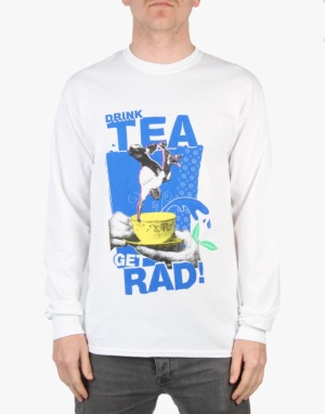 Lovenskate Drink Tea, Get Rad L/S T-Shirt - White