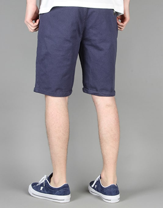 Route One Roll Up Printed Chino Shorts - Blue