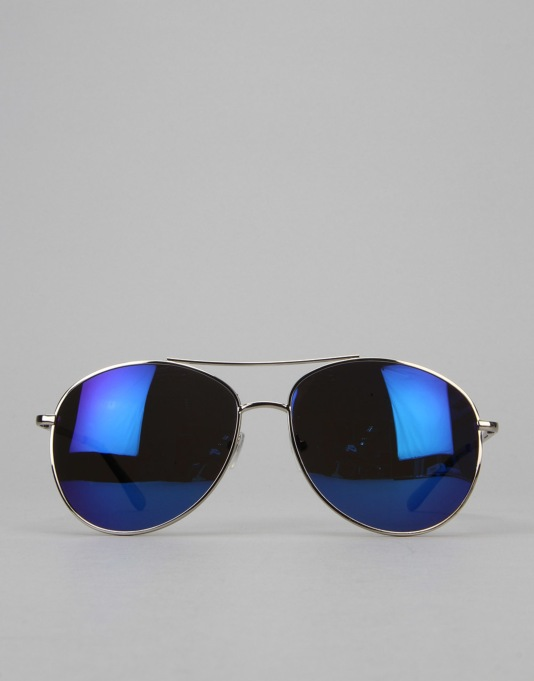 Glassy Sunhater Daewon Sunglasses - Silver/Blue Mirror