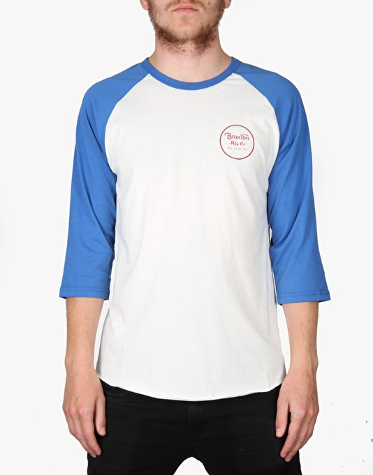 Brixton Wheeler 3/4 Raglan T-Shirt - White/Royal