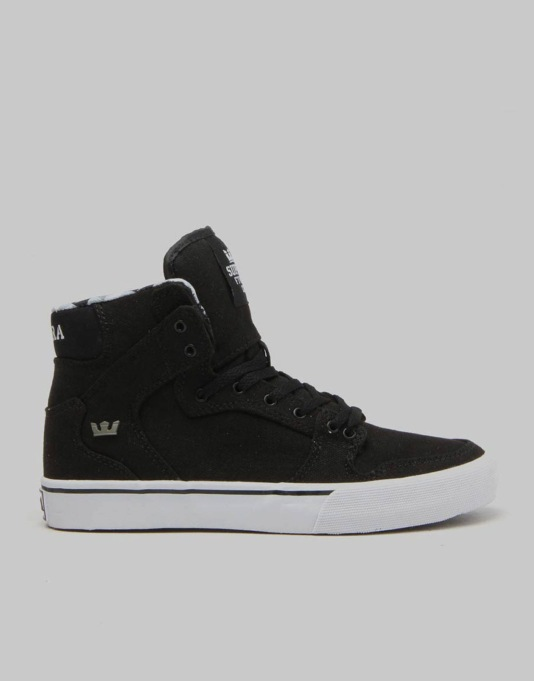 Supra Vaider Boys Skate Shoes - Black/Black/White