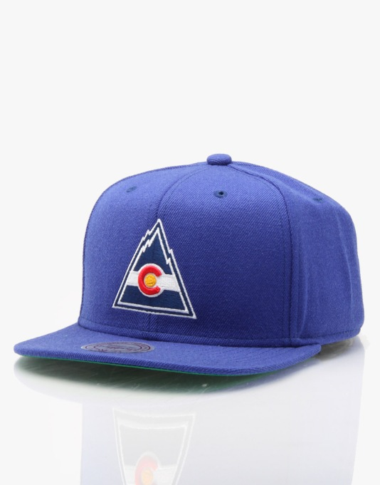 Mitchell & Ness NHL Colorado Rockies Wool Solid Snapback Cap - Blue
